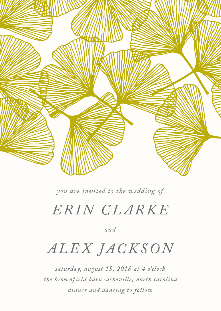 falling ginko wedding invitation by minted