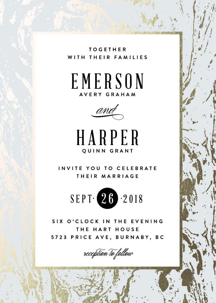 modern marble wedding invitation by minted