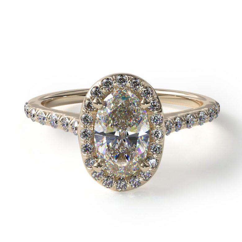 Yellow Gold Pave Diamond Engagement Ring with Oval Center