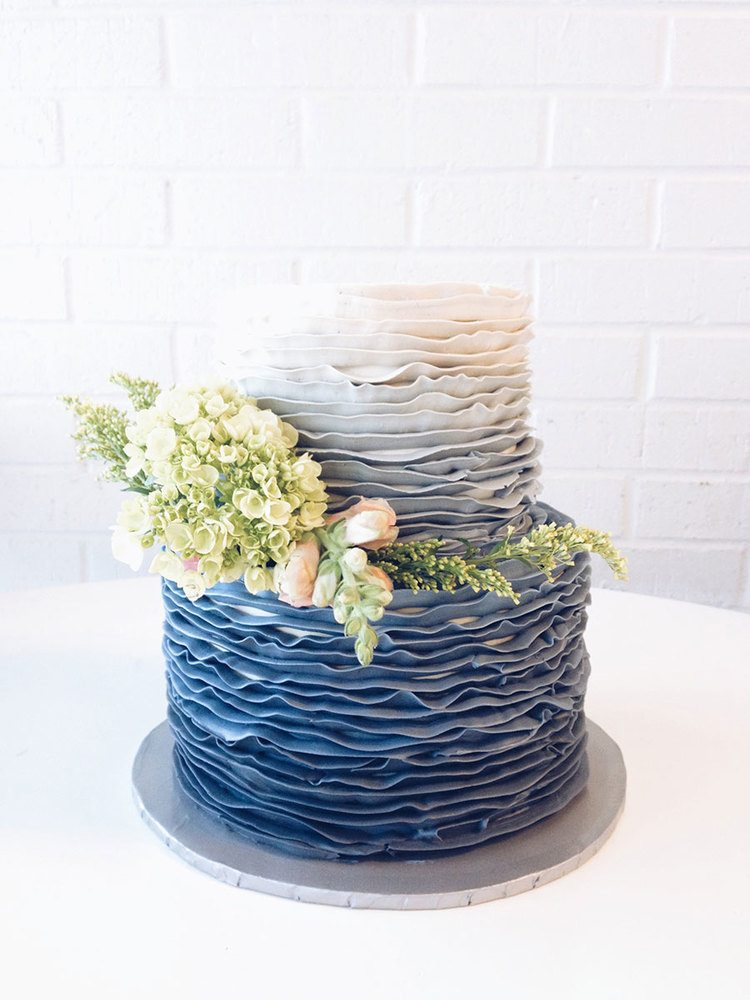blue ombre waves wedding cake