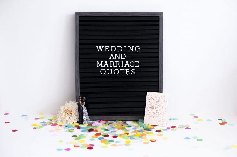 "Letter board saying ""wedding and marriage quotes"""