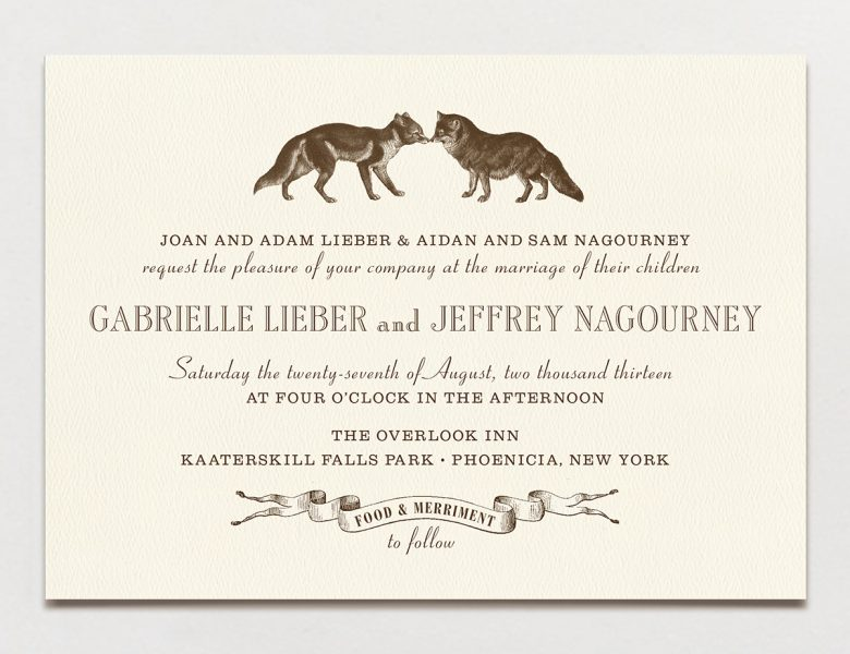 Wedding invitation wording formal modern fun a practical wedding wedding invitation with two black and white illustrated foxes at the top filmwisefo
