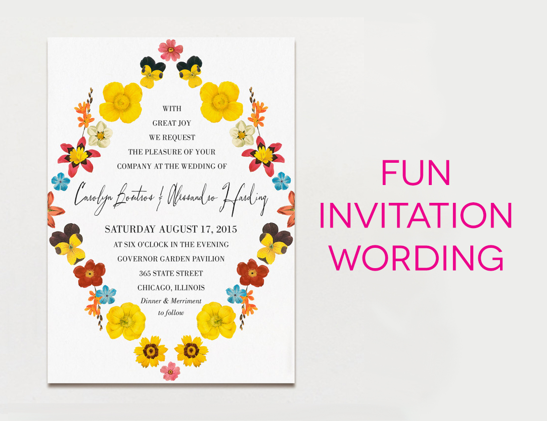 Wedding invitation wording creative and traditional a practical fun wedding invitation wording stopboris Image collections