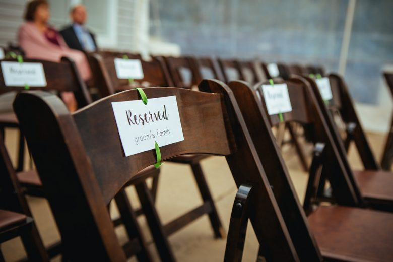 chairs with reserved signs