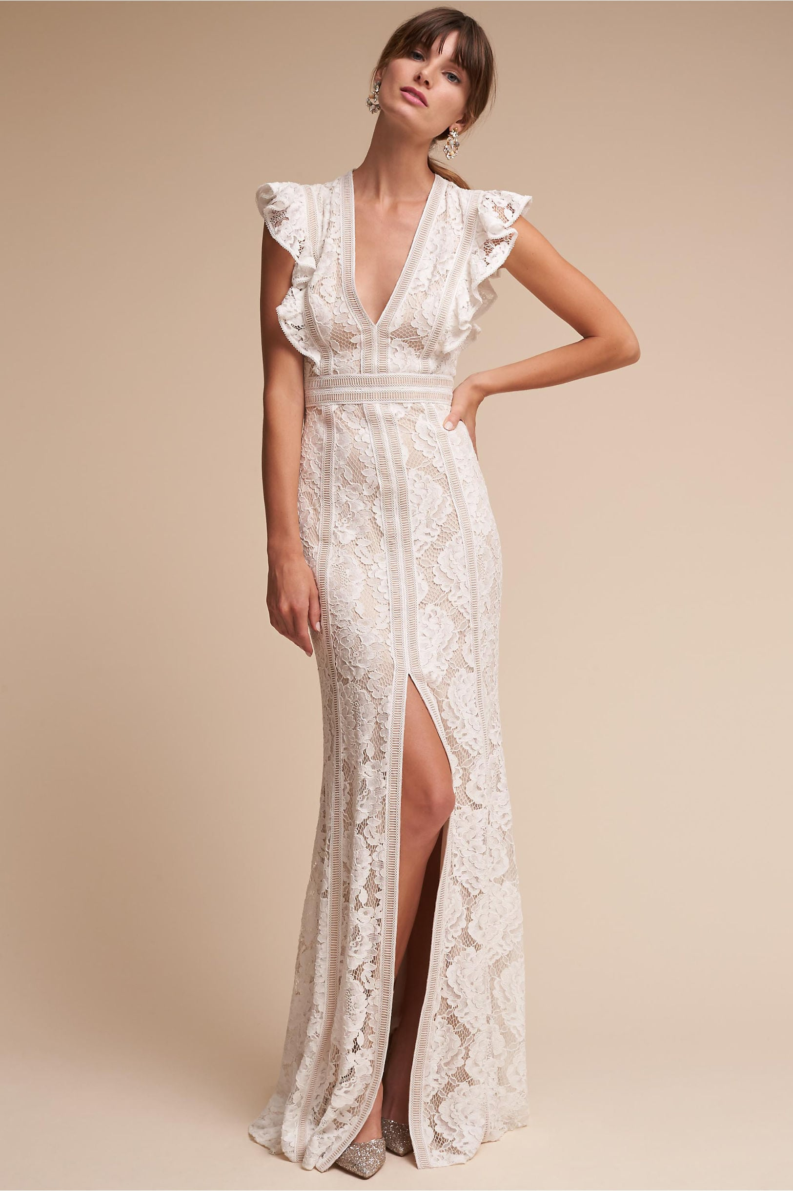 Placid Gown from BHLDN: vertical lace gown with deep v and flutter sleeve